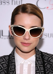 "Emma Roberts modeled these retro sunnies—which, fun fact, were inspired by her style!—at the ""Emma"" Sunglass unveiling."