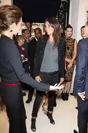 Emmanuelle Alt  attended Vogue's Celebration night in a loose black blazer encrusted with silver studs and sequins.