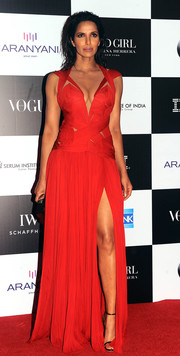 Padma Lakshmi was red-hot in a high-slit cutout gown by J. Mendel at the Vogue Women of the Year Awards in Mumbai.