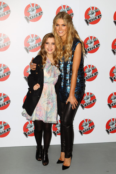 Delta Goodrem paired black leather skinnies with a sequined top for a super-chic finish at the 'Voice' press conference.