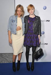 Trendsetter Chloe Sevigny paired her ivory cut-out dress with black platform ankle boots.