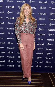 Connie Britton styled her look with a pair of purple velvet pumps.