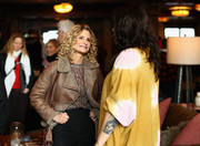 Kyra Sedgwick kept warm with a fur-lined leather jacket at the Girls Weekend brunch.