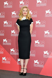 Madonna opted for a ladylike look at the Venice Film Festival in a black and white sheath dress.