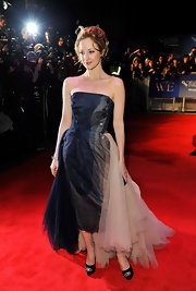 Andrea Riseborough looked elegant at the London Film Festival in a strapless fishtail dress with a thick tulle train.