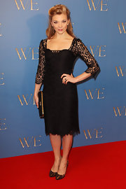 Natalie Dormer donned a lacy cocktail dress with leopard heels for the 'W.E.' UK premiere.