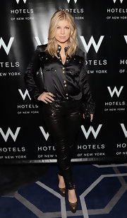 Fergie wore black on black in this shiny buttoned blouse at the Hangover Ball in NYC.