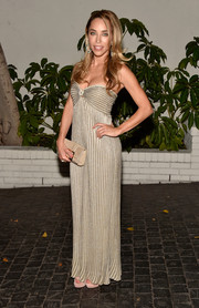 Katia Francesconi looked slim and slender in a flattering pinstripe dress at W Magazine's Golden Globes celebration.
