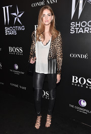 Chiara Ferragni looked fierce in a fringed leopard-print leather jacket during the W Magazine Shooting Stars exhibit opening.