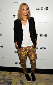 A pair of camo-sequined cargo pants by Dsquared2 added major oomph!