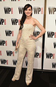 Lena Hall worked a strapless cream lace jumpsuit at the WP Theater Gala.