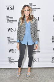 Sarah Jessica Parker glammed up her casual outfit with a pair of bejeweled silver pumps from her label.