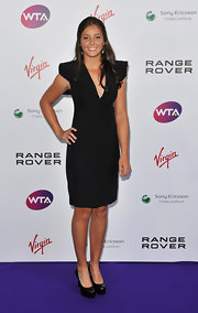 Laura Robson looked futuristic in this LBD, featuring huge shoulder pads and a plunging neckline, at the pre-Wimbledon party.