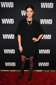 Katie Lee donned sophisticated black patent heels. The t-straps give the heels a slightly vintage vibe.