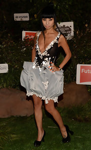 Bai Ling's unique style came out when she donned this black and silver embellished frock with an exaggerated ruffled skirt.