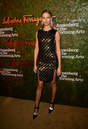 Karolina Kurkova showed off her fierce style in a metal-embellished Ferragamo sheath during the Wallis Annenberg Center Inaugural Gala.