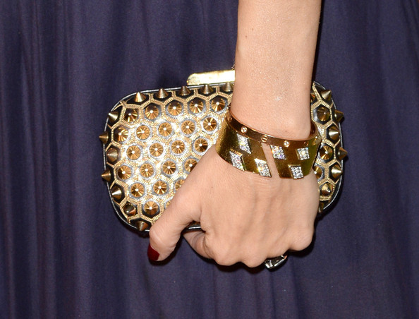 A spiked gold clutch added a dose of edginess to Rachel Zoe's look during the Wallis Annenberg Center Inaugural Gala.