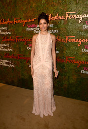 Freida Pinto dazzled in a beaded pink Ferragamo evening dress during the Wallis Annenberg Center Inaugural Gala.