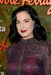 Dita Von Teese stuck to her her trademark retro-glam waves when she attended the Wallis Annenberg Center Inaugural Gala.