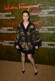 China Chow looked exotic in a kimono-inspired black and gold dress at the Wallis Annenberg Center Inaugural Gala.