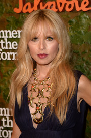 Rachel Zoe was boho-glam, as always, with her long wavy cut and choppy bangs at the Wallis Annenberg Center Inaugural Gala.