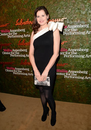 Geena Davis chose a charming black-and-white one-shoulder dress adorned with a giant bow for the Wallis Annenberg Center Inaugural Gala.