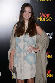 Celine Buckens attended the 'War Horse' 5th anniversary performance wearing a whimsical cloud-print dress.