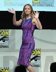 Emily Blunt stepped out in this bold blue and pink printed scuba sheath at Comic-Con 2013.