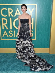 Sonoya Mizuno worked an Alexander McQueen strapless gown with a heavily ruffled skirt at the premiere of 'Crazy Rich Asians.'