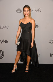 Jamie Chung was edgy-glam in a tux-inspired strapless dress by Kristina Fidelskaya at the Warner Bros. and InStyle Golden Globes after-party.