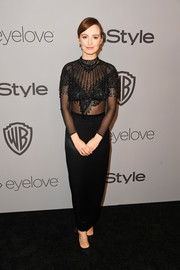 Ahna O'Reilly was sexy-glam in a sheer, beaded top by Laura Basci at the Warner Bros. and InStyle Golden Globes after-party.