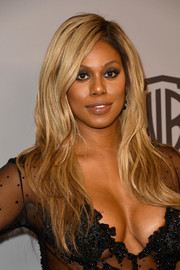 Laverne Cox went for a chic layered cut when she attended the Warner Bros. and InStyle Golden Globes after-party.