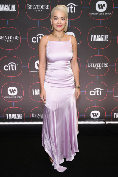 Rita Ora chose a lilac slip gown by Escada for the Warner Music pre-Grammy party.