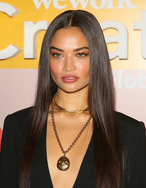 Shanina Shaik showed off silken straight tresses at the WeWork Creator Awards Global Finals.