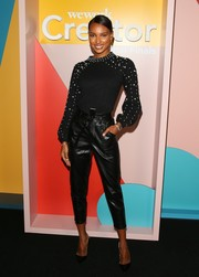 Jasmine Tookes was casual-chic in a pearl-studded crewneck sweater at the WeWork Creator Awards Global Finals.