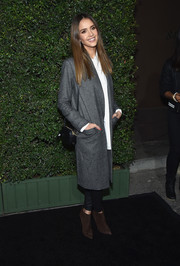 Jessica Alba sealed off her look with brown suede ankle boots by Stella Luna.
