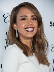 Jessica Alba was fall-chic with her dark berry lipstick during the Who What Wear event.