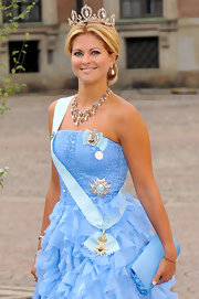 Princess Madeleine showed off her statement necklace while attending the Wedding of Crown Princess Victoria.