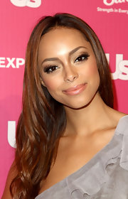 Amber Stevens added a touch of glamour to her stunning look with fluttering false lashes.