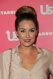 Lauren Conrad added a classic touch to her ballerina bun with a dash of radiant red lipstick.