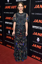Natalie Portman charmed in a floral-beaded sheer-overlay gown by Valentino at the New York premiere of 'Jane Got a Gun.'