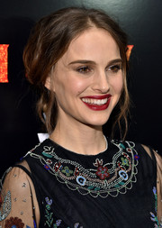Natalie Portman went for bohemian glamour with this messy chignon at the New York premiere of 'Jane Got a Gun.'