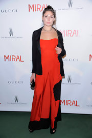 Stella Schnabel topped her dress with a black blazer at the 'Miral' premiere.