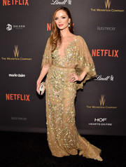 Georgina Chapman looked like the goddess of spring in her floral-embroidered lace gown (by Marchesa, of course) at the Weinstein Company and Netflix Golden Globe party.