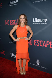 Karina Smirnoff opted for a flirty orange fishtail dress when she attended the premiere of 'No Escape.'