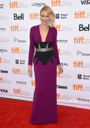 Naomi Watts oozed sophistication in a deep-V purple Antonio Berardi gown, featuring geometric detailing along the waistline, during the premiere of 'While We're Young.'