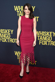 Tina Fey worked a raspberry-hued Dion Lee dress with a cutout hem during the 'Whiskey Tango Foxtrot' world premiere.