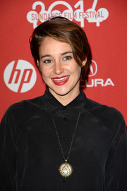 Shailene Woodley finished off her makeup with a swipe of bright red lipstick.