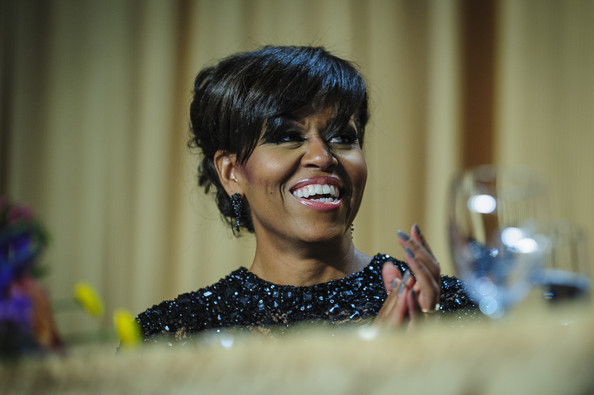 More Pics of Michelle Obama Pinned Up Ringlets (1 of 7) - Michelle Obama Lookbook - StyleBistro