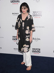 Marina opted for a long silk floral tunic for her look at the 'White House Down' premiere in NYC.
